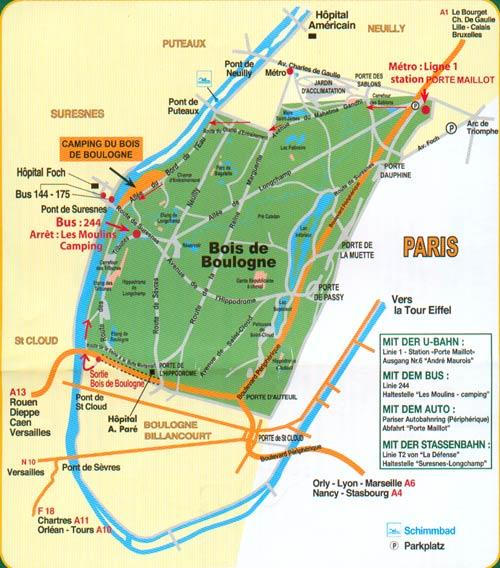 Lageplan Camping du Bois de Boulogne