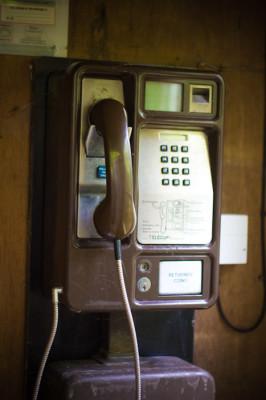 Telefon mitten im Wald an einem Cottage