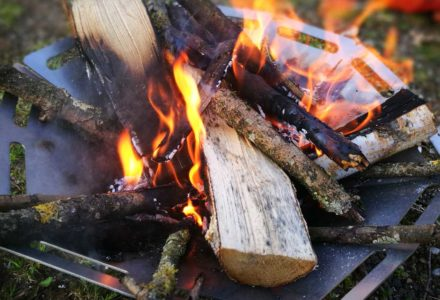 Tschum Feuerschale aus Edelstahl im Einsatz